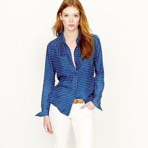 J. Crew Blue Dot Silk Button Down Shirt
